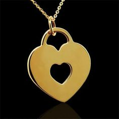 Engraveable Lock Heart Pendant Necklace 14K Yellow Gold