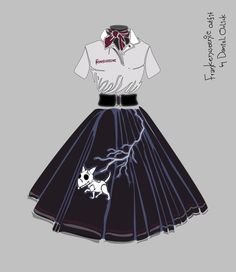The budding fashion designer in me, which is also a big Tim Burton fan, designed this #Frankenweenie outfit based on a 1950's poodle skirt. #TimBurton #1950s #poodleskirt #danielorlick