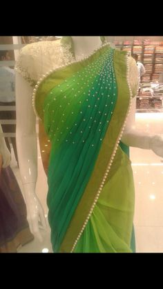 Pearl work done on shoulder side of pallu.. get it done at http://mytailor.in/