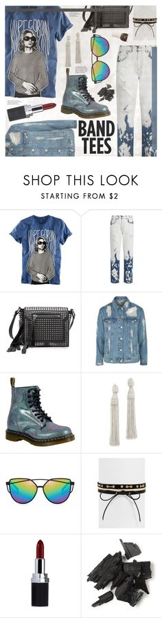 """""""I'm With The Band: Band T-Shirts"""" by nosleeptilbrooklyn ❤ liked on Polyvore featuring H&M, Gucci, McQ by Alexander McQueen, Topshop, Dr. Martens, Oscar de la Renta, BaubleBar, trending, contestentry and bandtees"""