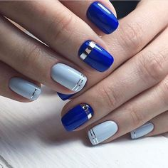 Beautiful nails 2017, Blue manicure, Cute nails, Nail art stripes, Party nails, Perfect nails, Two color nails, Two-color nails ideas