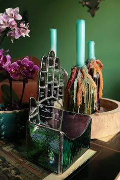 Available at my #etsy shop:  Palmistry Tealight holder   http://etsy.me/2Aqwf5z #candles #green #purple #tealightholder #palmistry #stainedglass #ravenhaylin #wicca #pagan