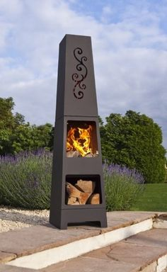 Steel Chimenea with Log Store & Cut Out Chiminea Patio Heater Modern Fire Pit