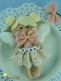 Angel of love and caring - decoration - gift for newborns - nursery decors - beads with a name