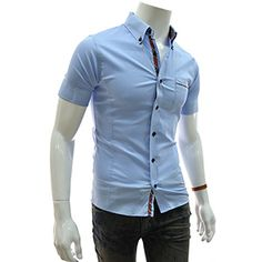 (EVSS20-SKY) Slim Fit Checker Patched Stretchy Short Sleeve Shirts