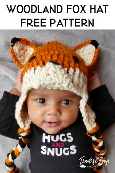 Woodland Fox Crochet hat Woodland Fox Crochet hat – free crochet fox hat pattern for baby, toddler, child and adult sizes. Crochet Toddler Hat, Crochet Baby Hat Patterns, Crochet Beanie Pattern, Crochet Baby Clothes, Cute Crochet, Crochet Hats For Babies, Crotchet, Crochet For Baby, Baby Hat Knitting Patterns Free