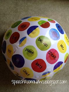 Beach ball sentence building.. have the kid say a sentence with the two words his/her hands are on when they catch it
