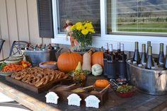 Appetizers for Oktoberfest.  German pretzels, mustard sampler, pickles and German wine and beer.
