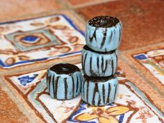 Set of 4 black blue rustic washers beads with par CeramicBeadsArt