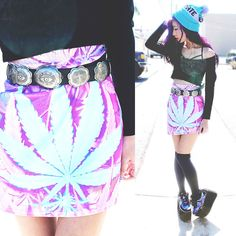 Style 2 Bones/ StyleFilmer/ Dominique N. Educate Elevate Teal And Lilac Bobble Beanie, Luv Ya Clothing Weed Skirt, Unif Concho Belt, Y.R.U. Quozmo