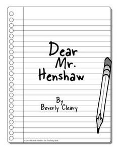 Worksheets Dear Mr Henshaw Worksheets dear mr henshaw beverly cleary novel study reading book unit
