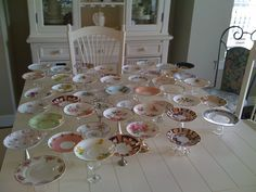 What a great idea! We should hit up some thrift stores for old china plates to use for the dessert table
