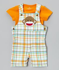Love this Orange & Blue Sock Monkey Overalls & Tee - Infant by Sock Monkey on #zulily! #zulilyfinds