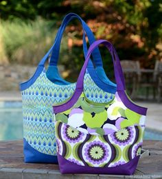 ☻ Smile and Wave Tote Bag PDF Sewing Pattern + Adjustable Strap Tutorial by Betz White