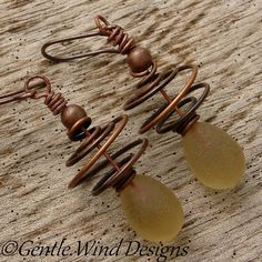 HONEY DROPS - Handmade Lampwork Beads, Antiqued Copper Wire by gentlewinddesigns.etsy.com