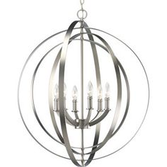 Progress Lighting Equinox 27.75-in 6-Light Burnished Silver Standard Chandelier