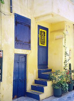 Gorgeous blue doors in Crete.  Got lost in Crete once.  Walked around for hours and absolutely nobody spoke english.
