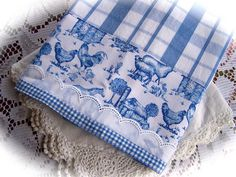Farmyard tea towel for blue and white kitchen