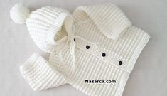 Hi friends, I want to tell you a very nice model, you will love this baby cardigan. Baby Boy Knitting Patterns, Knitting Designs, Baby Patterns, Knitted Baby Cardigan, Crochet Jacket, Knitted Hats, Bebe Video, Crochet Baby Clothes, Baby Vest