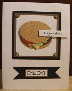 Hamburger card-Masculine The Happy Scraps: Handmade Card Exchange Cards (more bday card ideas too!)