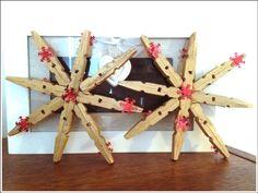 Hvězdy z dřevěných kolíčků na prádlo :)