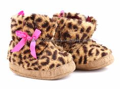 b704148c2 Infant Baby Girl Leopard Boots Crib Shoes Size 3 6 6 9 9 12 Months