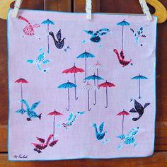 Pat Prichard Vintage Hankie - ducks flying with umbrellas