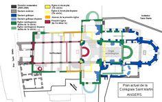 SAINT-MARTIN D'ANGERS:  Rouge (1° église fin 4°-début 5°s), -Jaune (Eglise à chevet plat 6°s et jaune clair Eglise à chevet plat disparue du 6°s)- Vert pâle (eglise carolingienne disparue milieu 10°s)- Vert foncé (église carolingienne: milieu du X°s). -  3) De nombreuses sépultures, sarcophages et coffrages en ardoise, ont été mises au jour et attribuées à l'époque mérovingienne.
