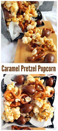 Caramel Pretzel Popcorn, the perfect fall treat!