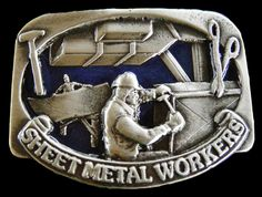 SHEET METAL WORKER SHOP TOOLS PEWTER BELT BUCKLE