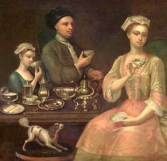 Family at tea 1727 Note the dishes and not tea cups with handles. Tea was imported from the east where it was customary to drink from bowls. Saucers appeared around 1700 and handles in 1750. Robert Adams is the originator of the English Tea Service. He designed handles on the cups and they quickly became popular. Bowls were felt to be awkward, untidy and accident prone. People were also burning themselves too often. He included decorative tea pots, creamers and matching spoons.