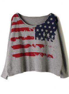 US Flag Pattern Smock Top