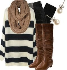 cute infinity scarf outfit easy to put together