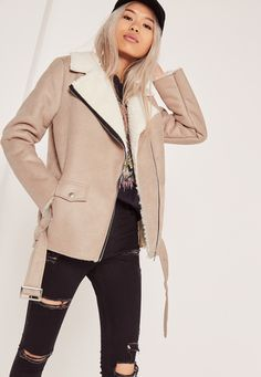 Missguided - Nude Oversized Faux Suede Shearling Lined Biker Jacket