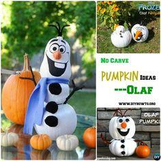 DIY Olaf Snowman Instruction-16 No Carve Pumpkin DIY Ideas Halloween Decoration Crafts
