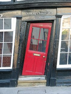 Pld King's School Shop in Canterbury, England - built in 1647 - Looks like it's right out of Harry Potter's Diagon Alley! Tricky door to get through! Closed Doors, When One Door Closes, Canterbury Kent, Kent England, Crooked House, Crooked Man, Red Doors, Windows And Doors, Arches