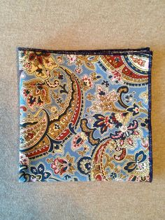 Pocket Square - Blue Paisley Print with Navy Sewn Border, Limited Edition by MVO on Etsy, $26.00