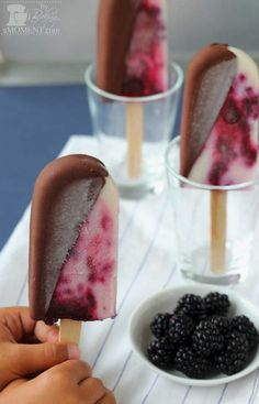Chocolate Dipped Blackberry Buttermilk Popsicles