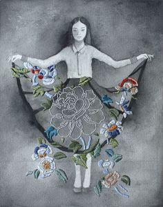 Ilustrações em aquarela e lápis ganham bordados nas mãos da artista Izziyana…