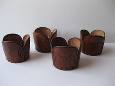 Vintage Manly Leather Western Style Retro Cup Cozies Set of Four on Etsy, $18.50