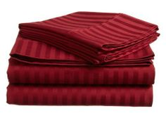 """500 Thread Count Egyptian Cotton Stripe Burgundy Twin Bed Skirt by Scala. $34.99. 1 Bed Skirt. Set Includes: 1 Twin Size Bed Skirt 39"""" X 75"""" with 15"""" drop, Tailored style, split corners, Material: 100% Egyptian cotton,Sateen finish Bed Skirt, Single-ply, Care instructions: Machine washable."""