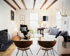Love the mix and match chairs around this wood table and the white brick wall. Description from pinterest.com. I searched for this on bing.com/images