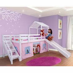 Cama com Escorregador Infantil c/ Telhado Escada Lateral e Tenda Lilás Azul Casatema - CasaTema