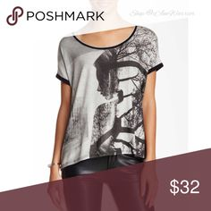 🆕NWOT relaxed cut graphic print top NWOT Cool boxy/relaxed cut rayon/spandex top with scoop neck and woman/tree graphic design on front. Size small but could easily fit a medium due to its oversized fit. Please read recently updated 'about me' listing prior to inquires. Edista Tops