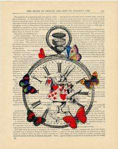 Alice in Wonderland book page print Vintage by PixelArtPrints, $7.99