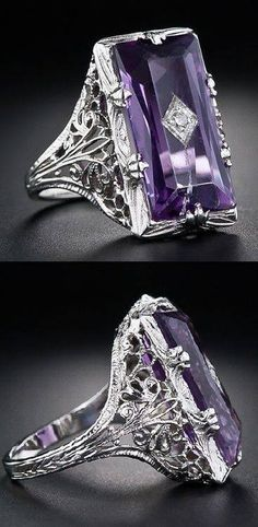 Vintage Amethyst and Diamond Filigree Ring.