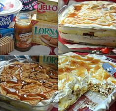 Ingredients           Lorna Doone cookies  Chips Ahoy cookies  2 containers Cool Whip or prepare fresh whipped cream  1 jar caramel sa...