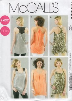 McCall's 6359 Free Us Ship Sewing Pattern Racerback Loose Fitting Tops Plus size 18 20 22 24 Bust 40 42 44 46 Out of Print Uncut New by LanetzLiving on Etsy