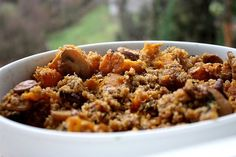 A Reader Recipe: Butternut Squash Quinoa with mushrooms, add chick peas for more protein and complete meal! :)