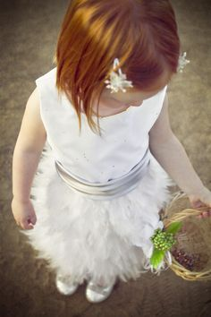 Ivory Feather Dress (size 2T-4T). $175.00, via Etsy.